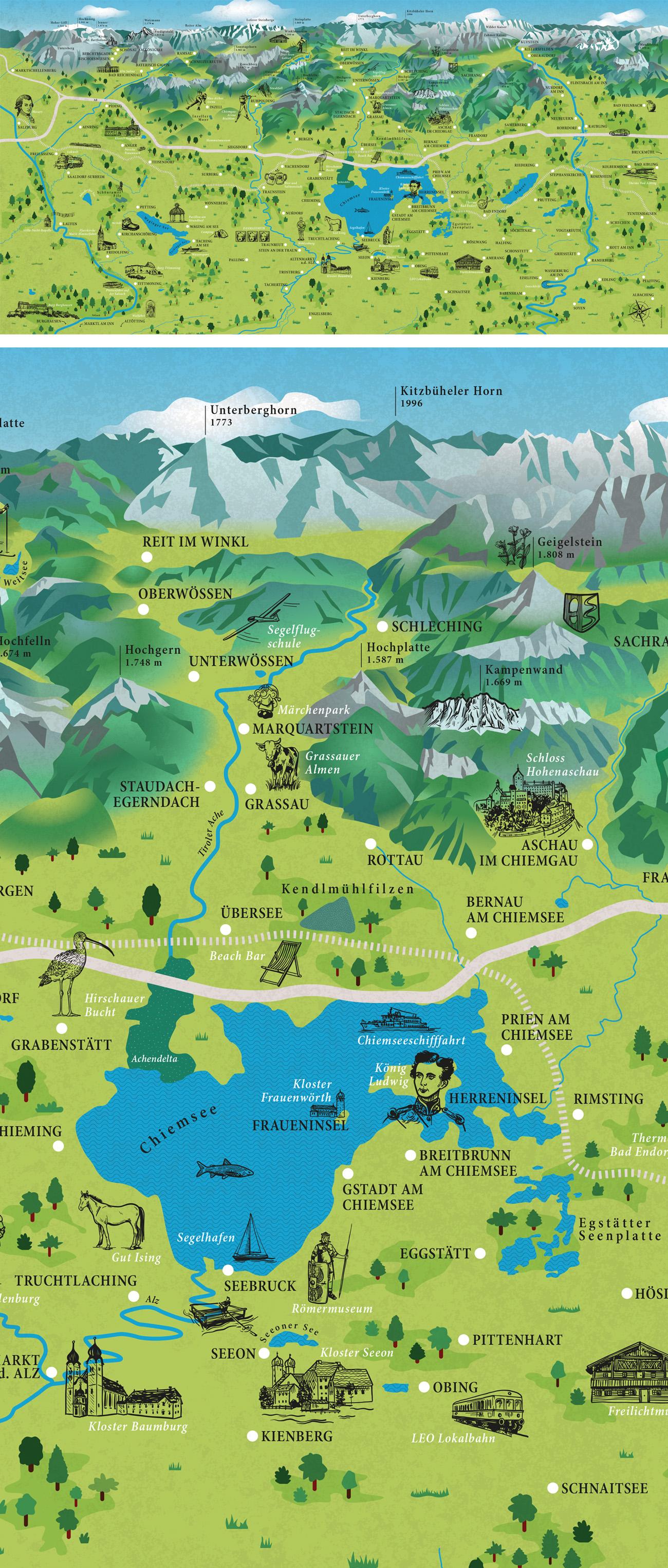 Illustrierte Karte vom Chiemgau als Vektorgrafik mit handgezeichneten Icons und Elementen für Tourismusbüro Broschüre. Illustration Marina Schilling