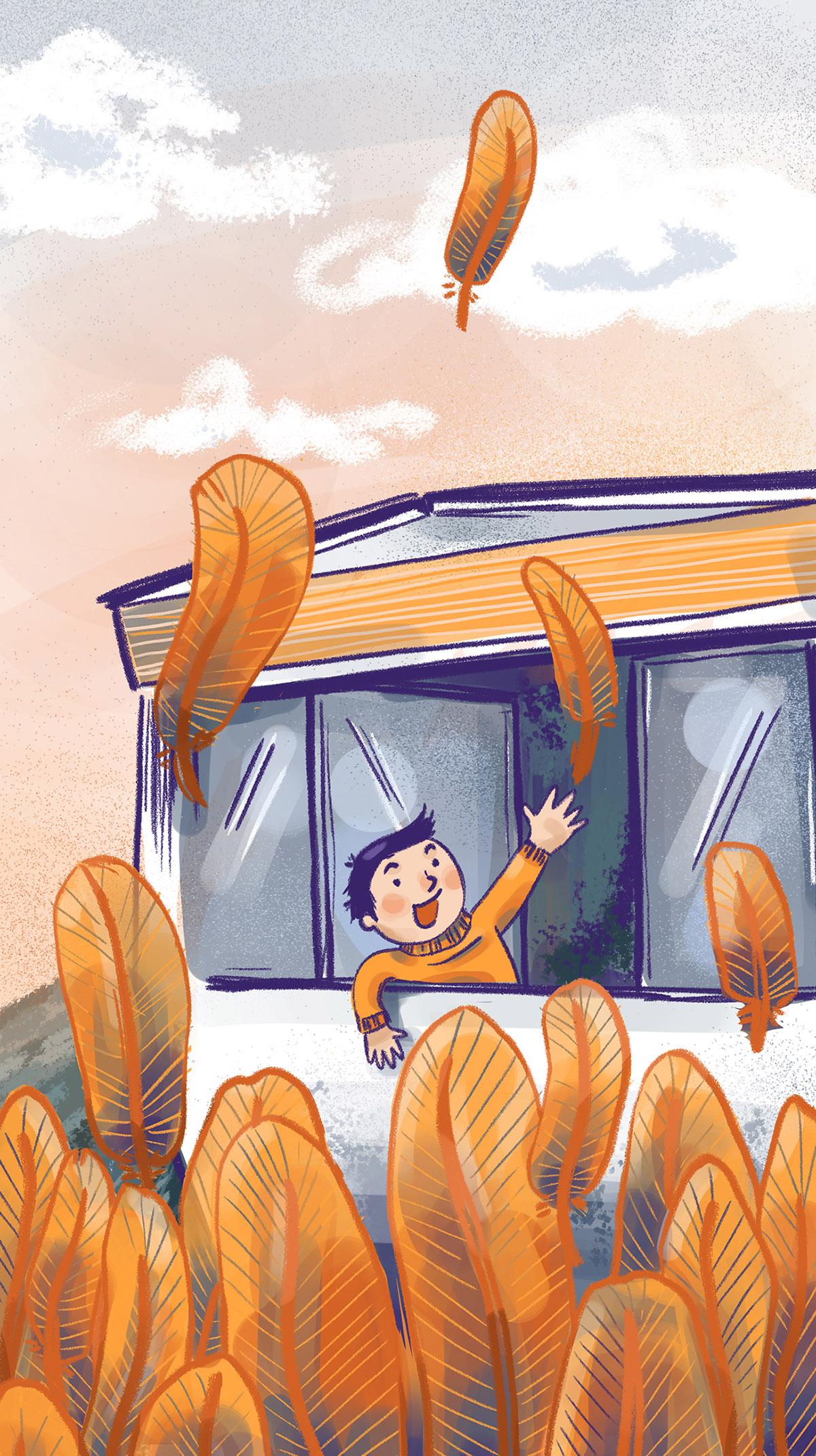 Kids Illustration Junge schaut aus Wohnwagen auf fliegende Federn. Marina Schilling.
