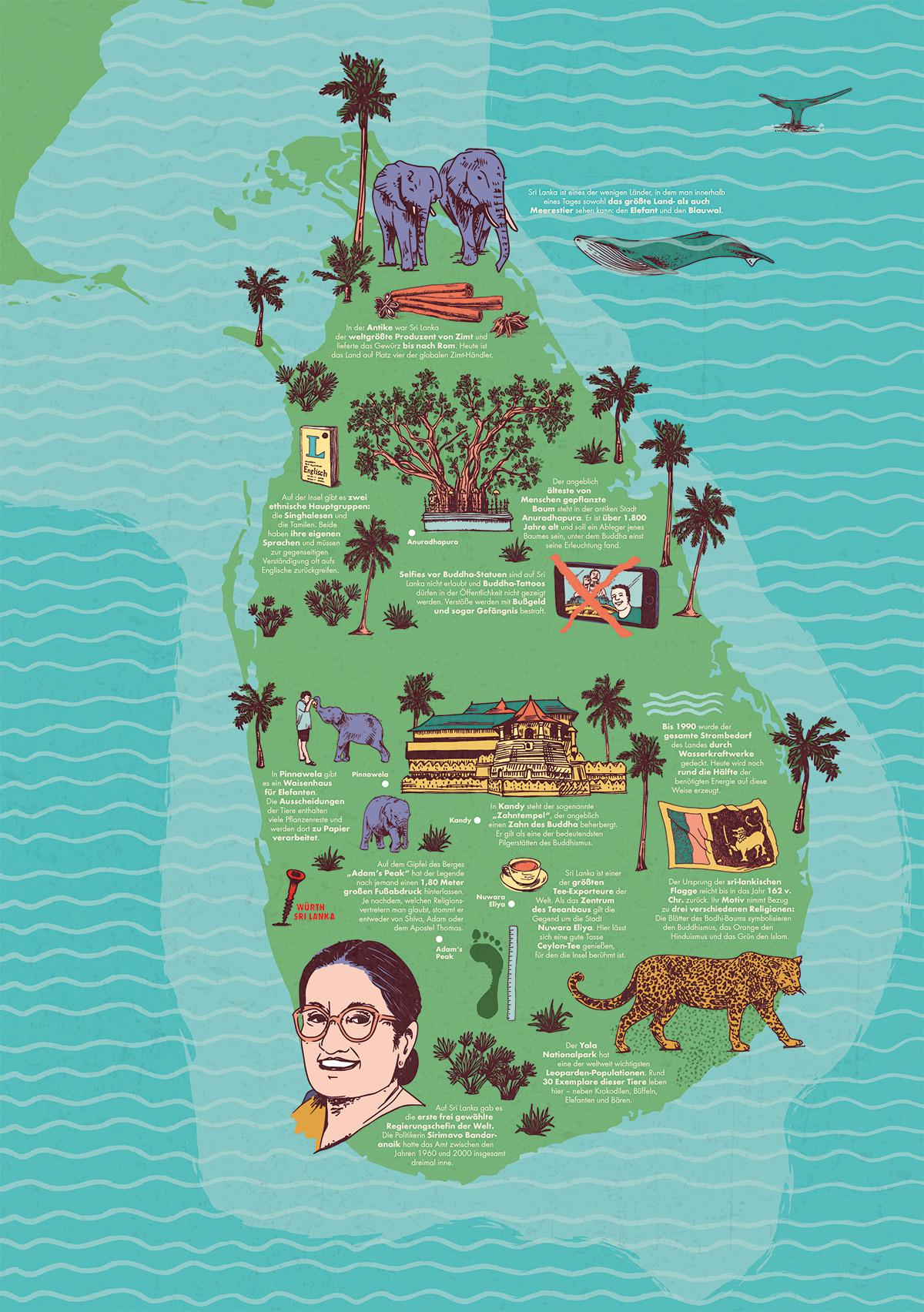 Illustrierte Karte von Sri Lanka für Magazin Editorial als Vektorgrafik. Marina Schilling
