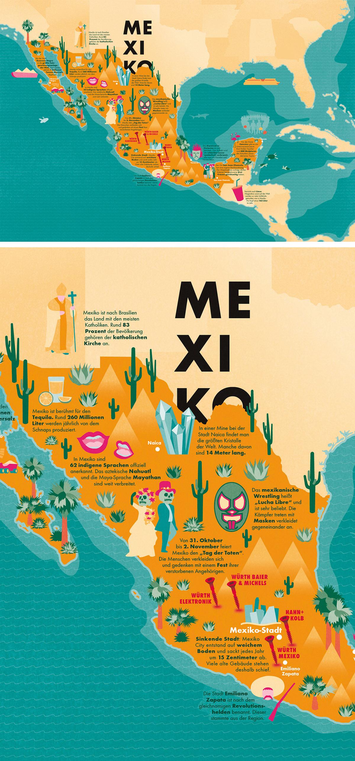 Illustrierte Karte von Mexiko als Vektorgrafik für Magazin, Editorial. Marina Schilling.