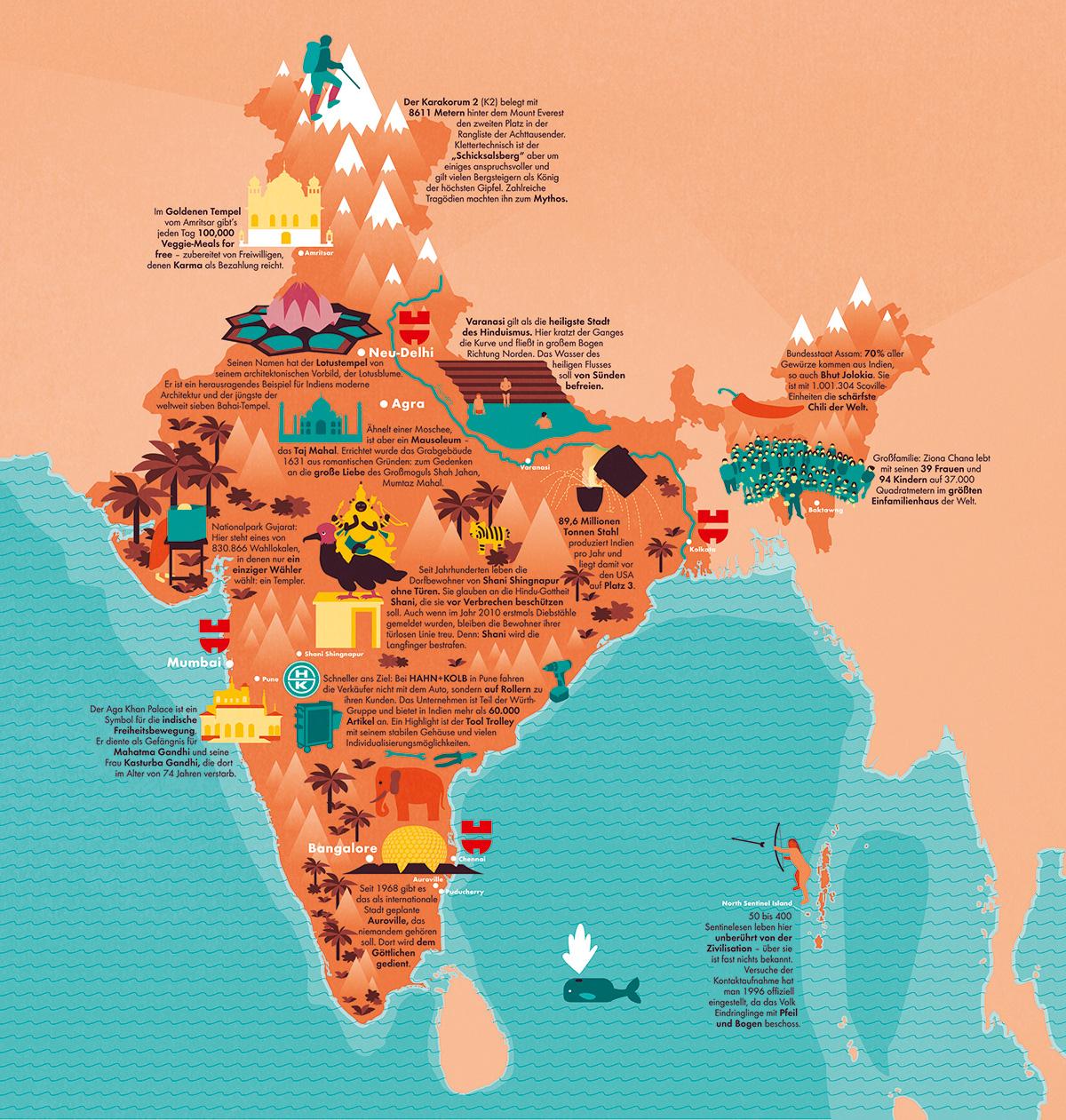 Illustrierte Vektor Karte Map von Indien mit kleinen Piktogrammen. Marina Schilling