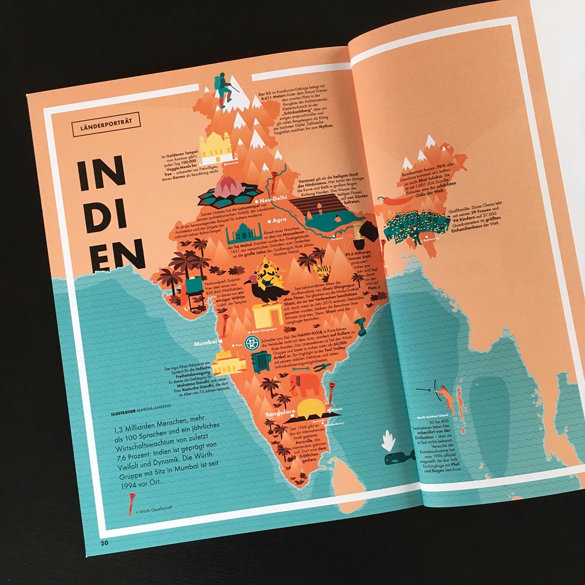 Die gedruckte illustrierte Karte in dem Magazin auf einer Doppelseite. Marina Schilling