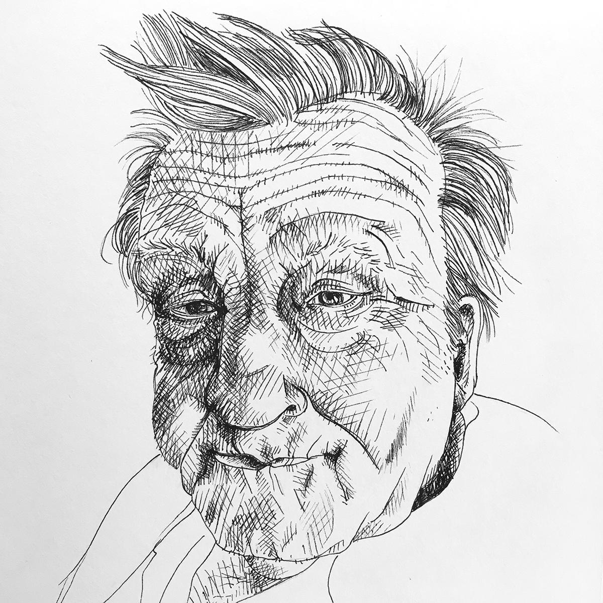 Porträt eines älteren Mannes, von Hand gezeichnet mit schwarzem Fineliner mit Schraffuren. Marina Schilling.