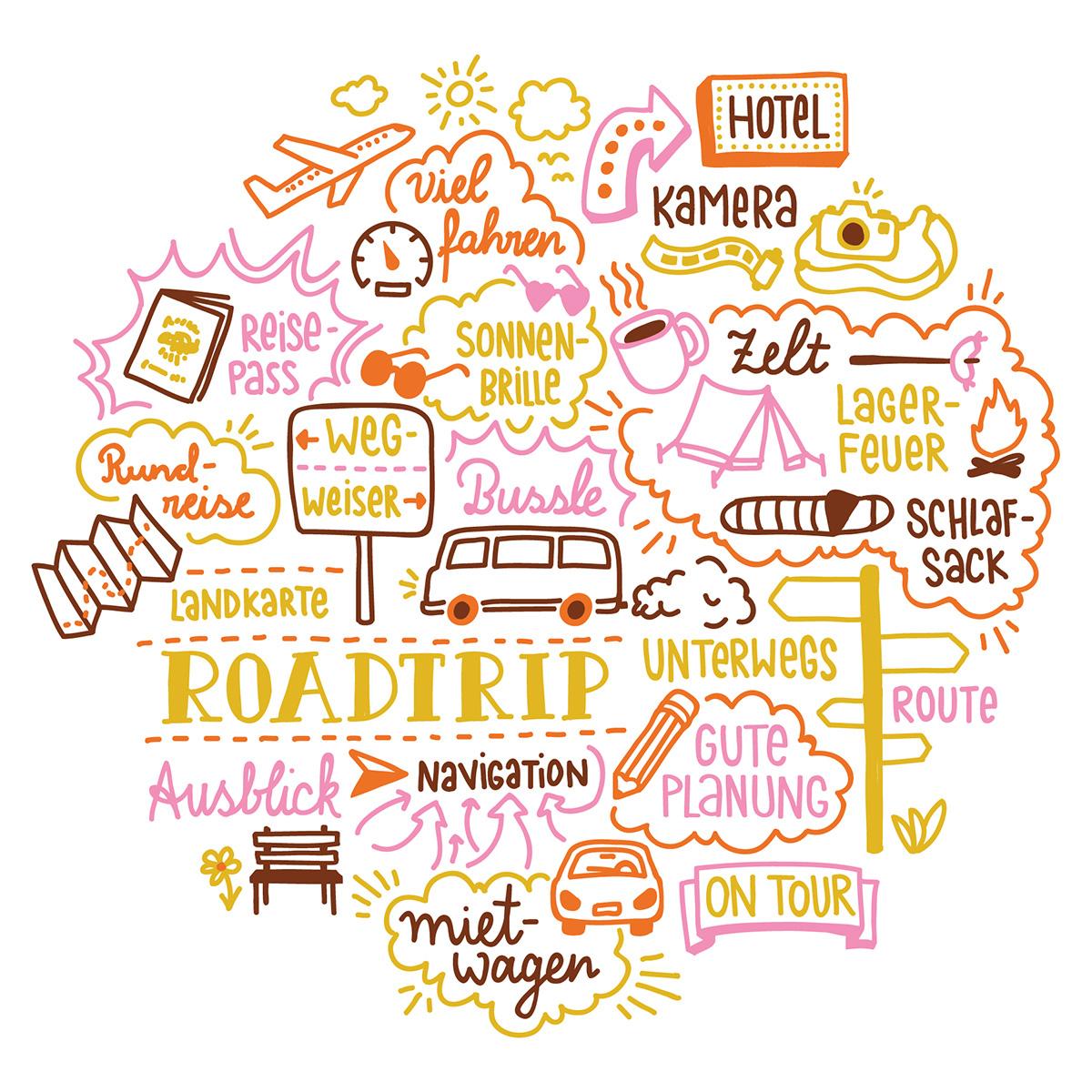 Doodle Illustration mit Handlettering zum Thema Roadtrip mit Zelt und Auto. Marina Schilling.