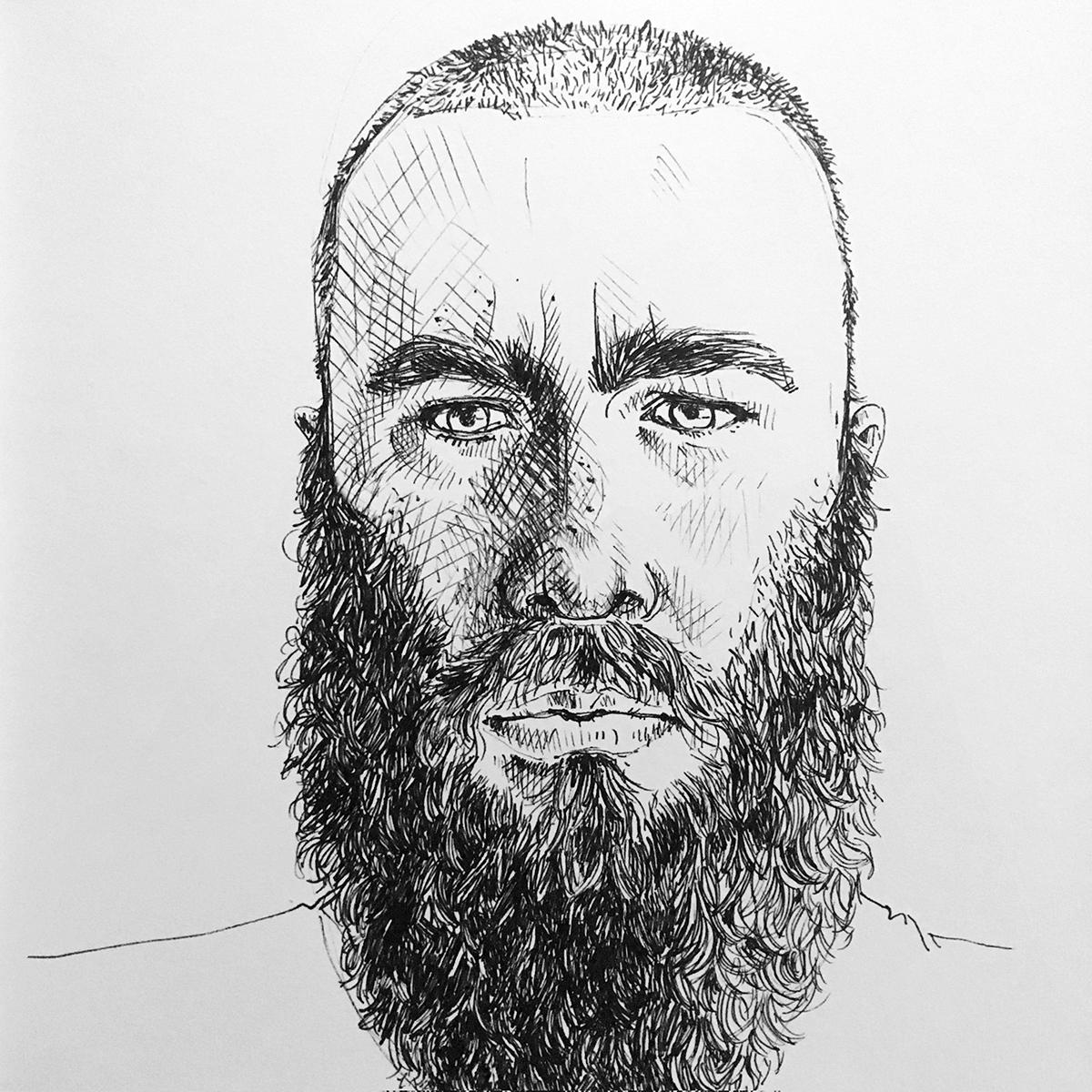 Porträt von einem Mann mit Bart mit Fineliner in Schwarz mit vielen Details. Marina Schilling.