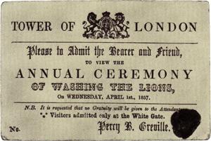 Cérémonie soi-disant annuelle, invitant à regarder la toilette des lions à la Tour de Londres