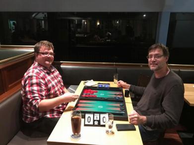 Oliver Plaehn (links), Sieger des Januarturniers, im Finale gegen Thomas Löw