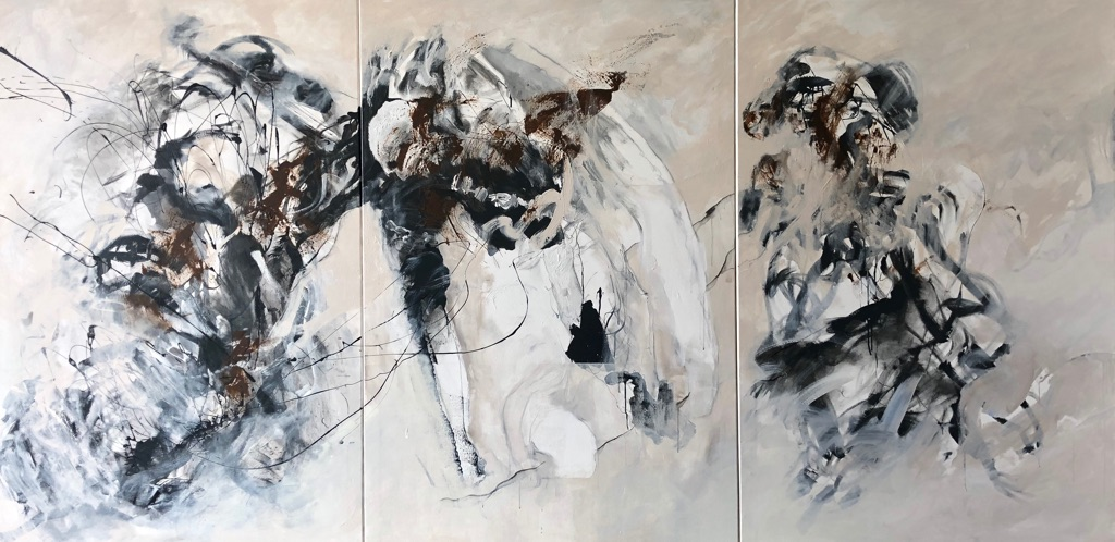 MT auf Leinen/mixed media on canvas/Tripthychon 150x300cm