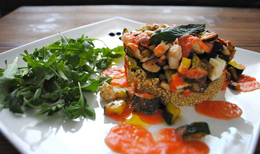 Cuscús de quinoa de pollo a la griega