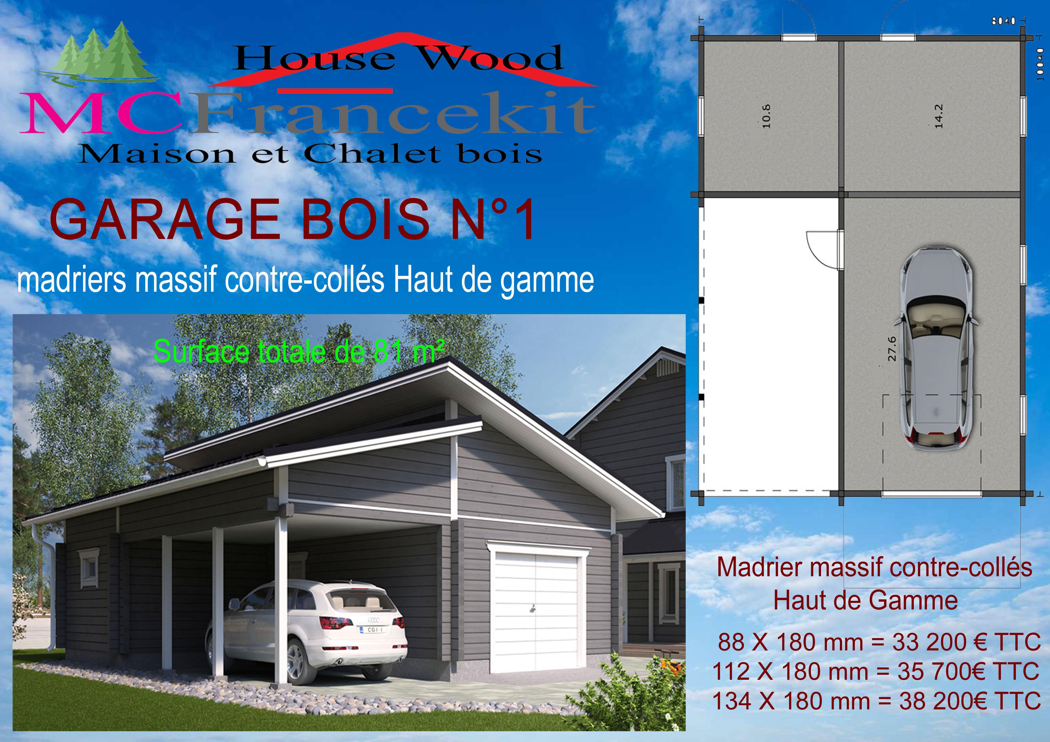Garage chalet en kit maison en bois for Ajouter garage contre maison