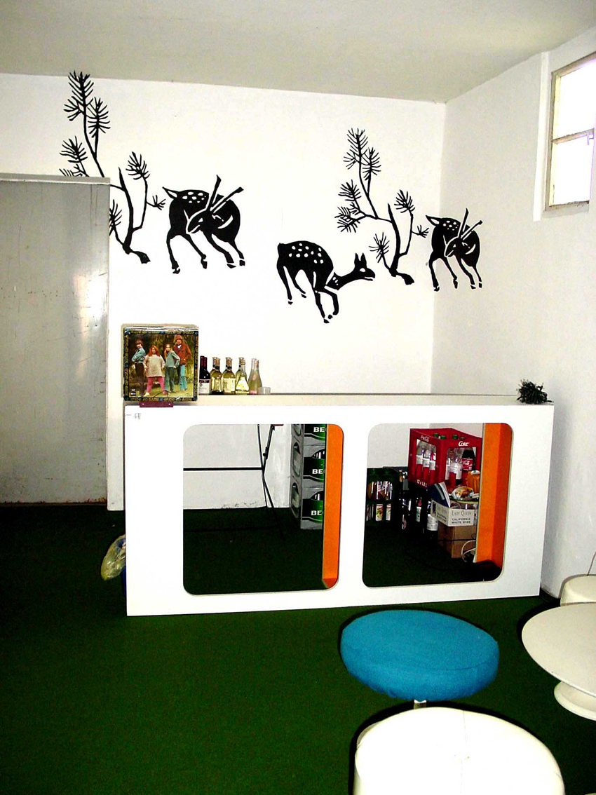 """A part of installation """"Harmony house 2"""", 1999: """"Deer in the room"""", acrylic on rough wallpaper"""