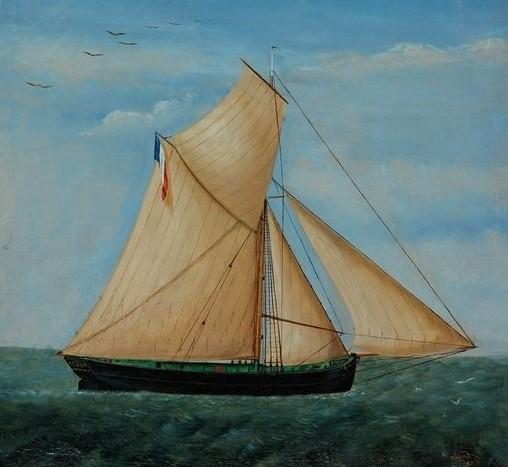 Portrait de navire du sloup de cabotage Émilie-Marie armé à Granville (Coll musées du département de la Manche)