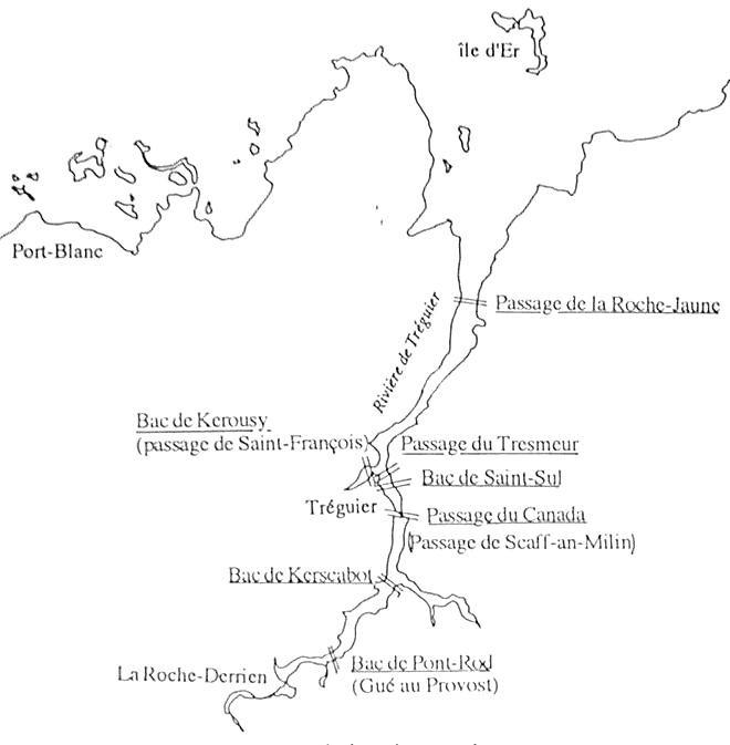 Carte des bacs sur le Jaudy doc. Olivier Levasseur « Les usages de la mer dans le Trégor au XVIIIe siècle »