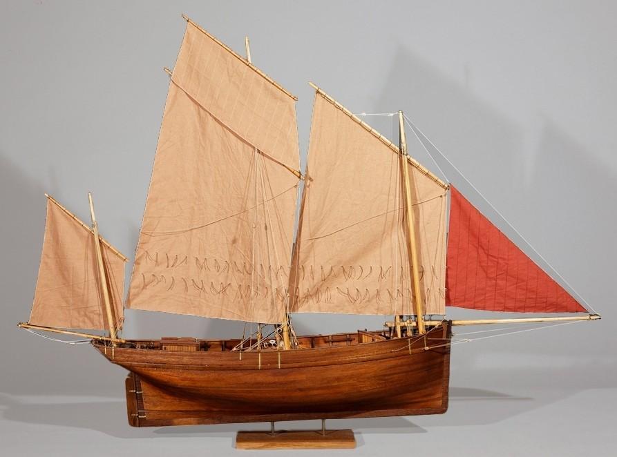 Modèle de la bisquine de cabotage Jean-Bart de Courseulles d'après un plan de François Renault (Coll musées du département de la Manche)