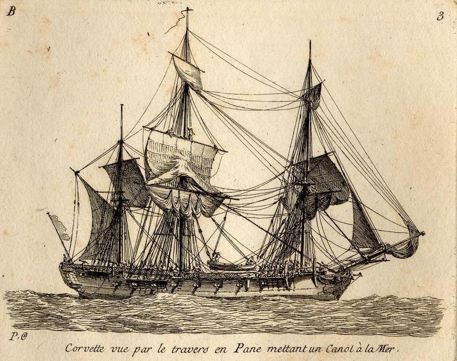 Corvette, la distinction entre corvette et frégate n'est pas toujours très claire à la fin du XVIIIème gravure de Pierre Ozanne