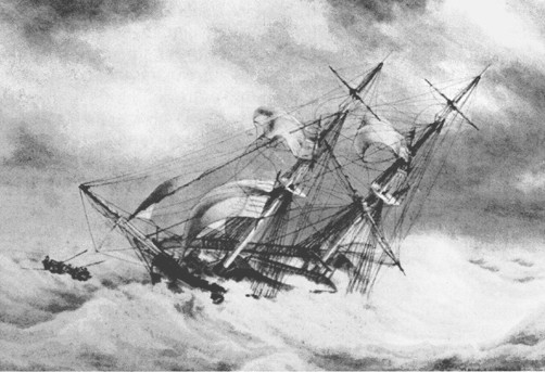 Scène du naufrage du brick Archibald en 1841 évoque le naufrage du brick Léontine Marie le 30 janvier 1869