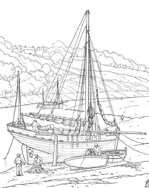 Port du Légué sloup à tapecul motorisé à l'échouage, dessin de Peter Anson 1930  « Mariners of Britany »