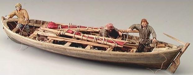 Type de canot utilisé pour tendre les lignes de fond, les doris ne seront utilisé qu'à partir des années 1870 (musée des civilisations Otawa)