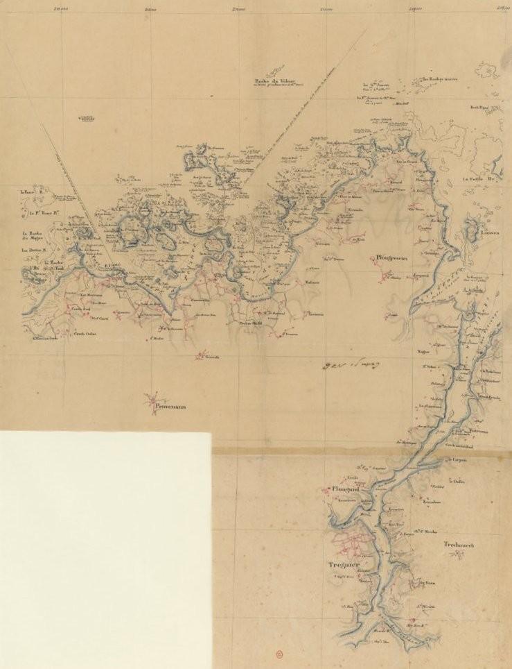 Cette carte manuscrite du dépôt des cartes et plans de la Marine  est certainement la première carte marine précise de Tréguier à Port Blanc