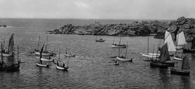 Régates de Trégastel, les flambarts sont plus nombreux que les canots à misaine, Trégastel est l'endroit le plus à l'ouest ou l'on trouve des canots à misaine à tapecul