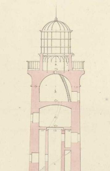 La lanterne, la chambre de veille, l'escalier et la colonne creuse