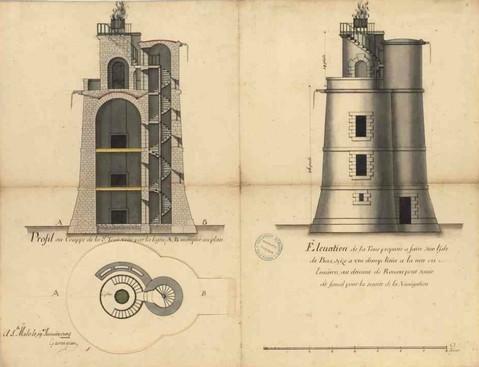Plan du projet de tour à feu pour l « ile de Bas » de la main de Garangeau