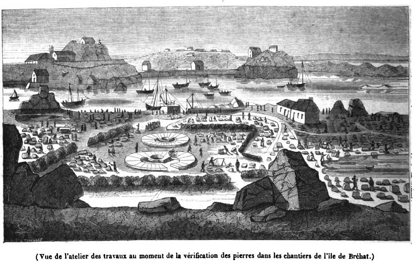 Au port de la Corderie à l'île de Brehat la taille et l'assemblage à sec des pierres