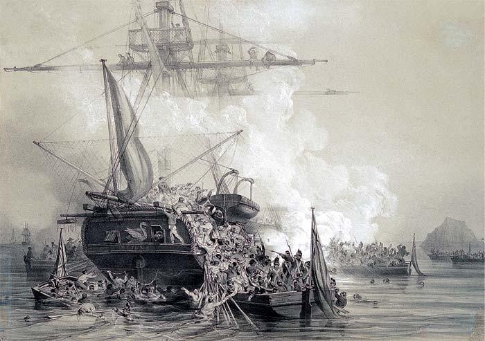 Attaque du brick le cygne par des péniches anglaise en 1808 à la Martinique, on voit bien les filets d'abordage à poste à l'arrière du brick (gravure de Auguste Etienne François Meyer)