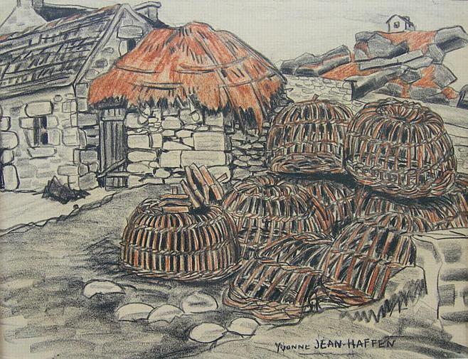 Casiers en osier sur la côte du Léon, dessin d'Yvonne Jean Haffen