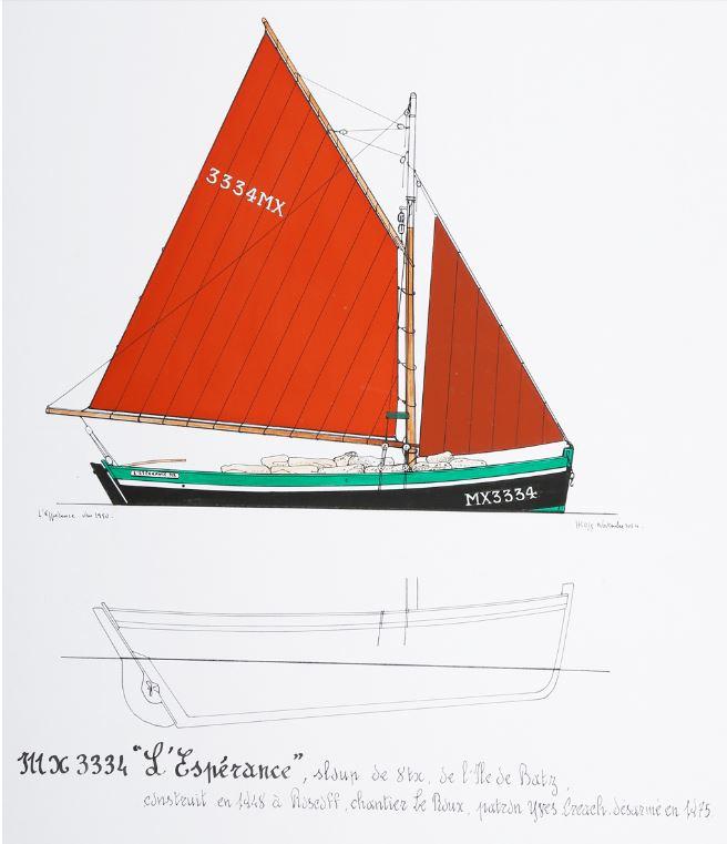 L'Espérance sloup de passage motorisé construit en 1948 pour Ifig Créach  le fils d'Isabelle puis à Roger son petit-fils (Dessin Henry Kérisit)