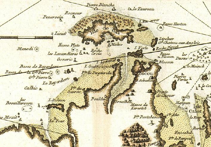 Extrait de la carte française de Louis Brion de la Tour de 1766. Pour les atterrages les navigateurs comptaient plus sur les pilotes lamaneurs que sur les rares documents nautiques