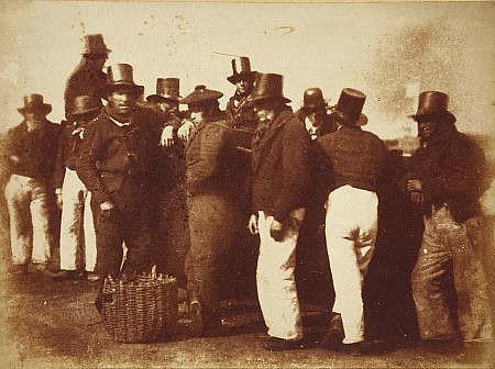 Pêcheurs de Newhaven  calotype entre 1843 et 1847 par Robert Adamson, le port du chapeau en cuir était à la mode