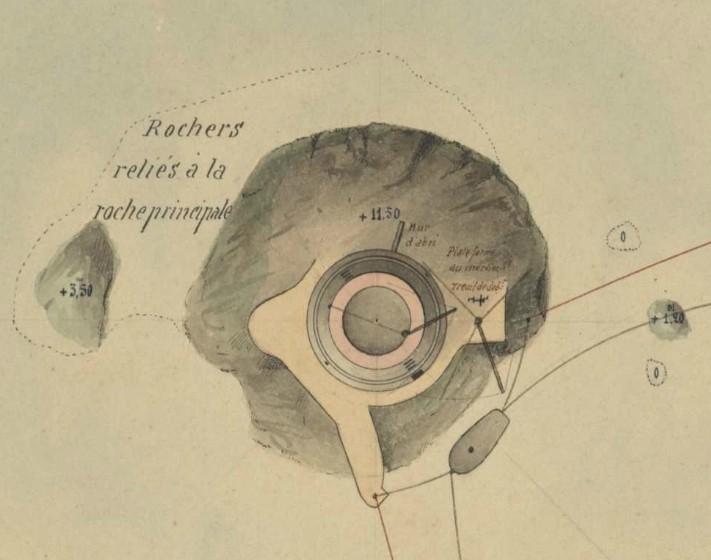 Détail de la roche du phare et de l'amarrage d'une gabare, des deux  mâts de charge et de la plateforme au mortier