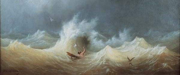 Le naufragé peinture de Louis Garneray