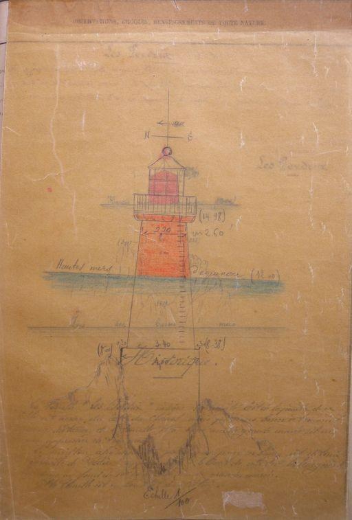 Plan de la tourelle des Perdrix en aval de Lézardrieux construite en 1860 équipé d'un feu fixe rouge en 1910 (Arch DDE 22)