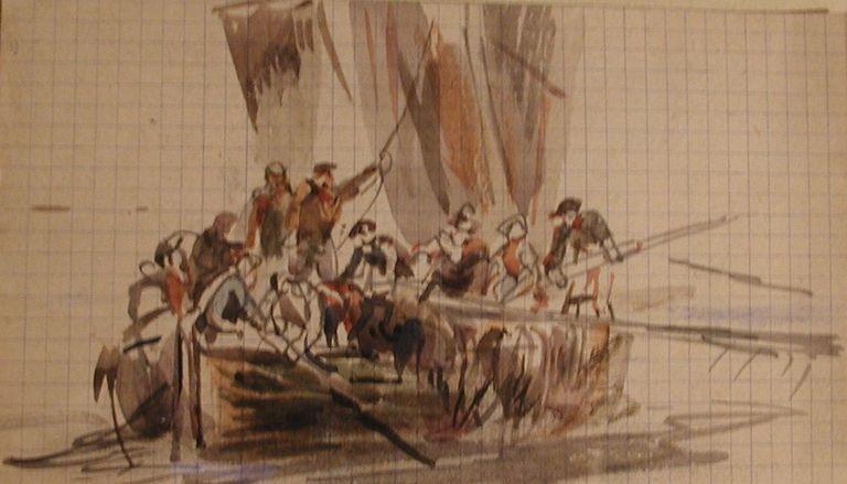 Faudacq retour d'un bateau chargé de goémon, l'équipage d'hommes et de femmes est particulièrement nombreux pour la coupe et le chargement