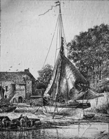 Le Canard cotre de l'Etat gravure de Faudacq, publiée dans le Yacht en 1887
