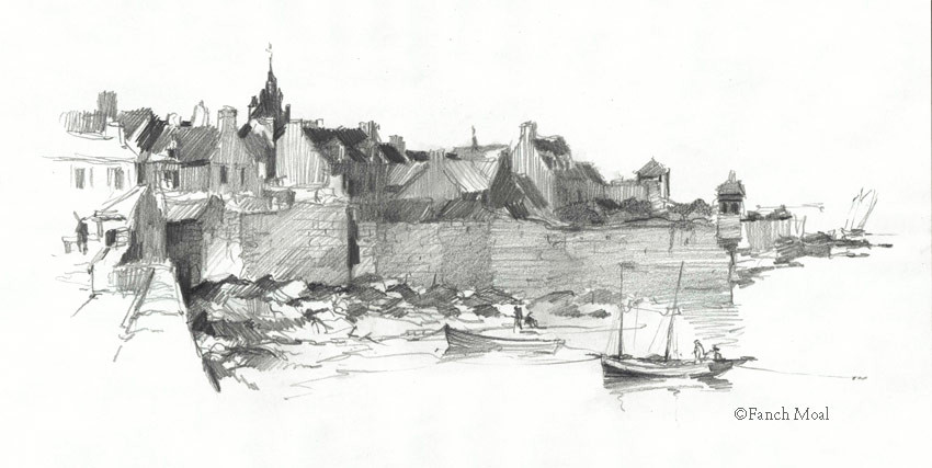 le vieux Roscoff et sa tourelle Marie-Stuart vers 1820, à l'époque les bateaux à deux mât gréé en lougre étaient fréquents, dessin à la mine de plomb de Fanch Moal