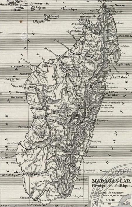 Carte de Madagascar dans les années 30 (Site carto-mondo.fr)