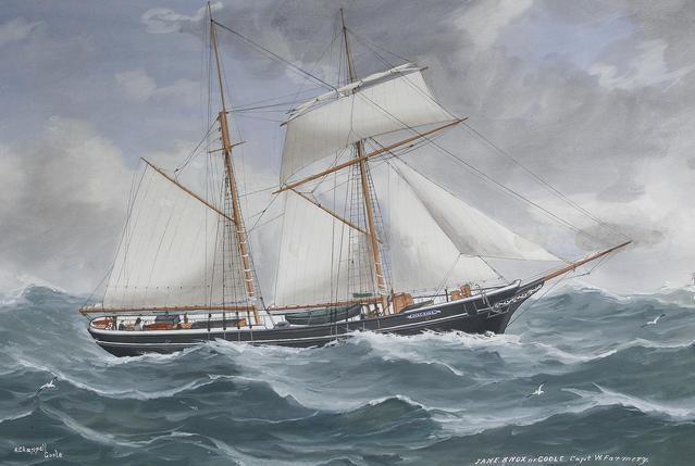 Goélette de cabotage par gros temps (portrait de navire anglais de Reuben Chappell)