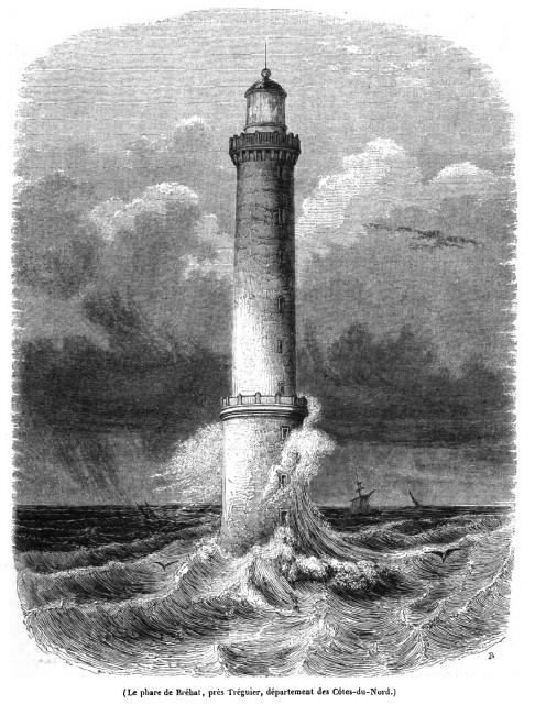 Gravure du phare à pleine mer par gros temps