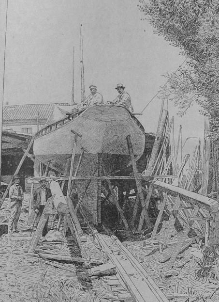 La Gallia en construction au chantier Coffre à bordeaux, les préparatifs du lancement en juin 1888