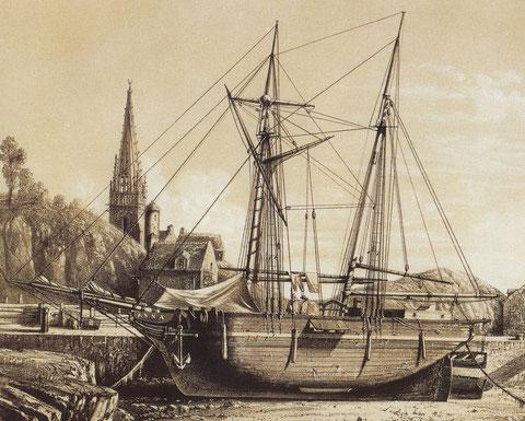 La petite goélette à hunier de cabotage Anna  le long d'un quai dans un petit port breton lithographie de Le Breton vers 1850