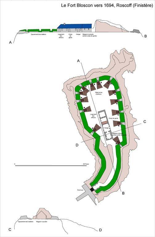 Plan du fort de Bloscon par Guillaume Lecuillier (dossier sur les fortifications littorales)
