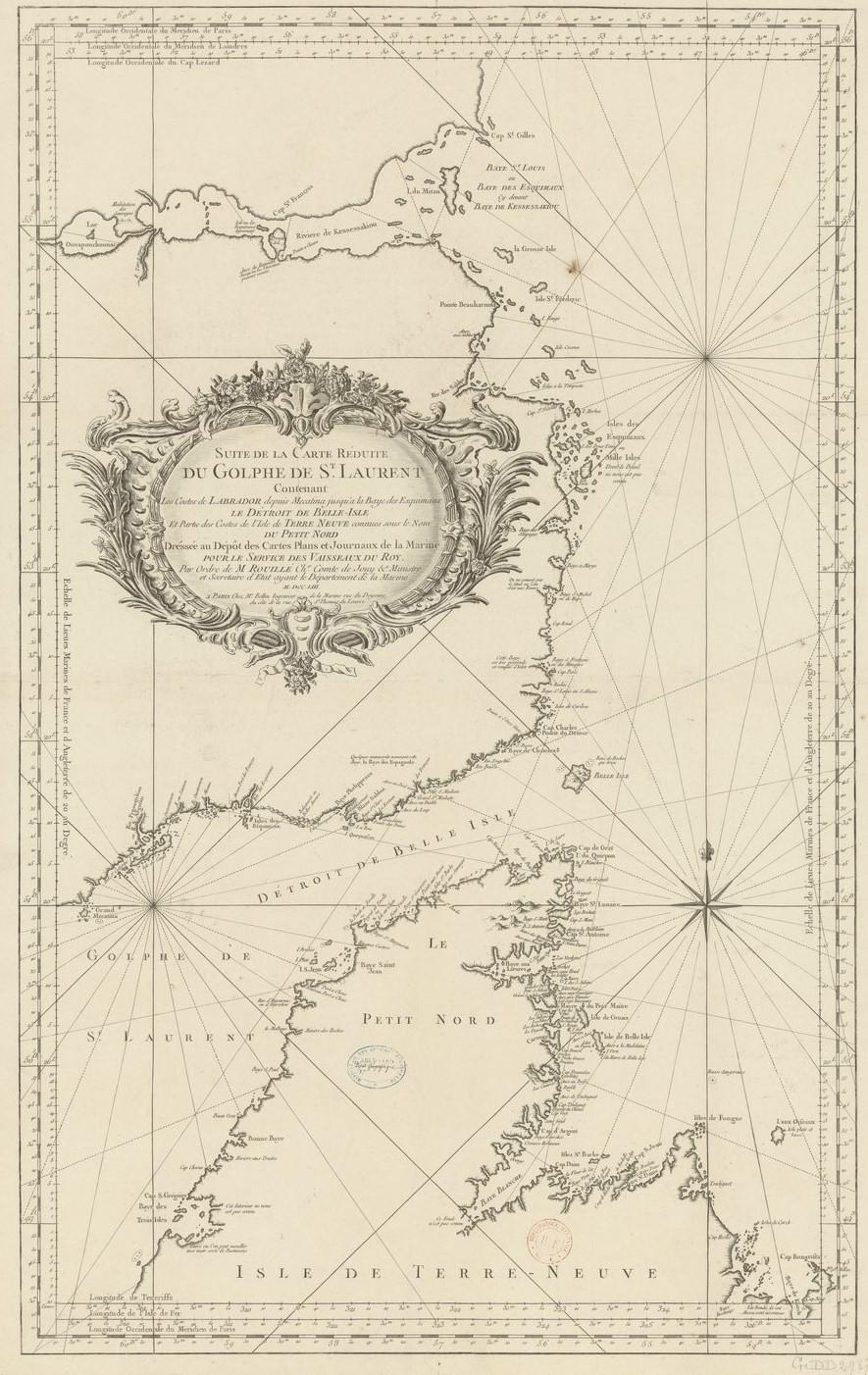 Carte marine française de Bellin de 1753 des côtes du labrador et du nord de Terre-Neuve