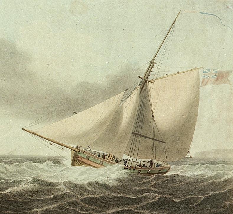 Cotre britannique de l'époque de l'empire, on peut remarquer la vergue pour envoyer une fortune carrée, l'Union avait-il une fortune carrée, si oui elle a été certainement bien utile pour faire route avec un vent du nord  (Source National Maritime Museum)