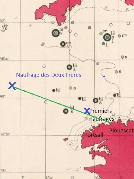 Carte du trajet des naufragés en doris, presque 100 milles parcouru (Carte géologique de la Manche relevée en 1921 par le Pourquoi Pas ?)
