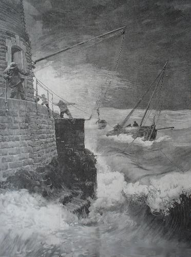 Gravure de la relève au Four, le transport des gardiens était assuré par des bateaux de pêche sous contrat avec l'administration.