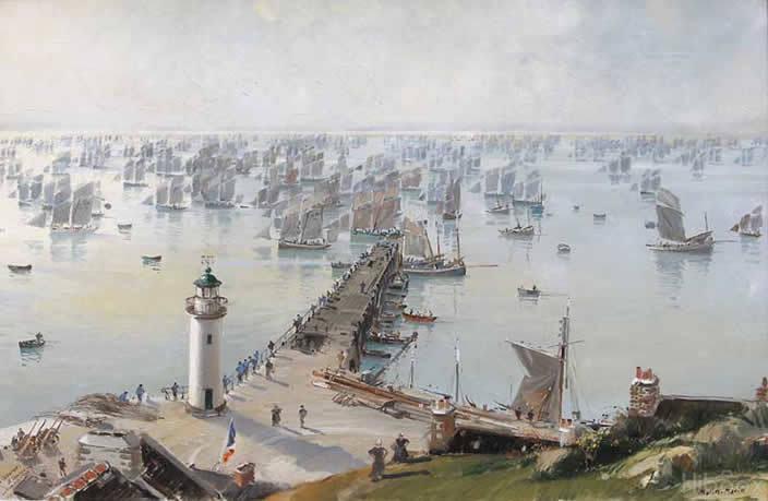 Départ de la Caravane à Cancale, peinture de Marin Marie