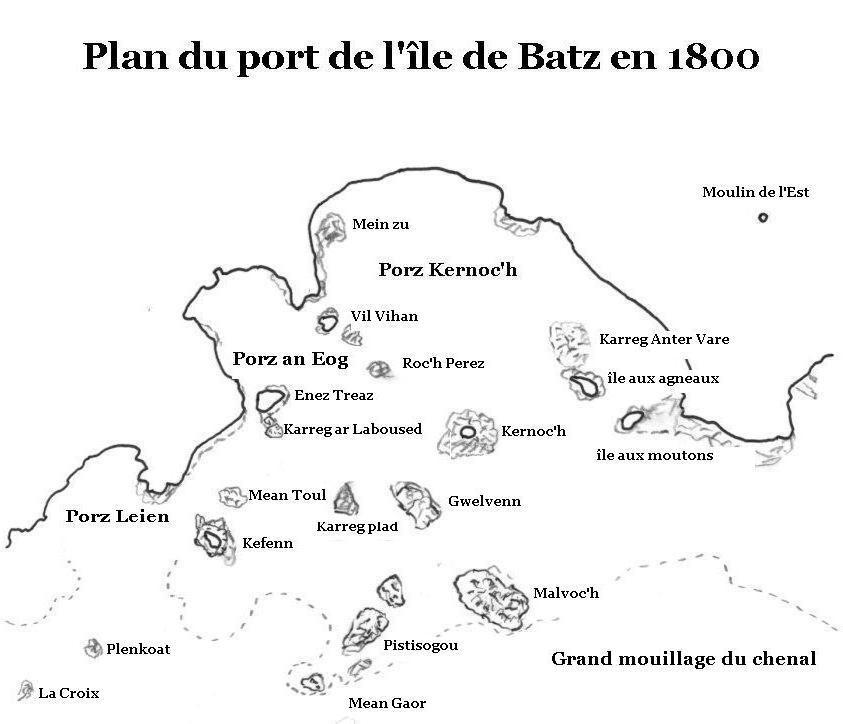 Carte réalisée d'après les cartes de Nicolas Roualec et l'Atlas des ports de France de 1877